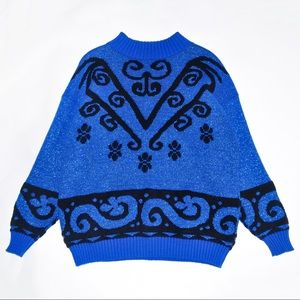 Sweaters - 1980's Glittering Blue Sweater